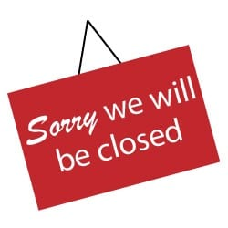 Sorry closed for festival days