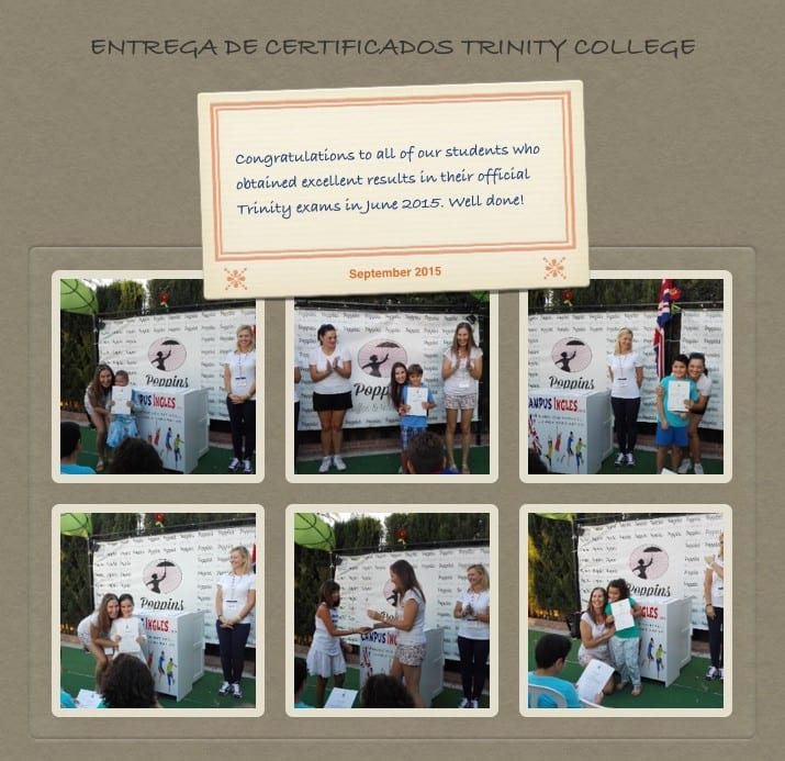 Entrega de certificados Trinity College London en Campus Ingles Alhaurin de la Torre