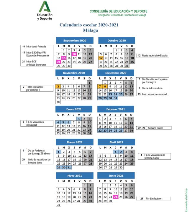 Calendario Escolar Málaga 2020-2021